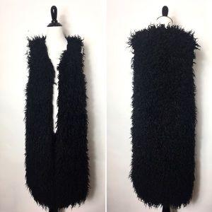 4/$20 Black Shaggy Faux Fur Vest